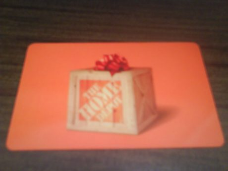 DSC10536 THD The Home Depot Gift Card wood crate with red bow