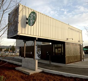 BWW - Starbucks store constructed of shipping containers Tukwila WA